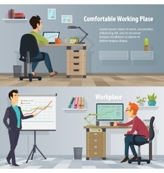 Business Workplace Horizontal Banners vector image