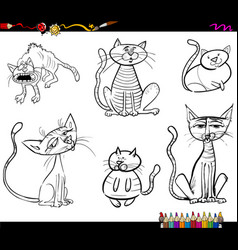 cartoon cat characters coloring book vector image