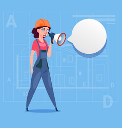 cartoon female builder holding megaphone making vector image