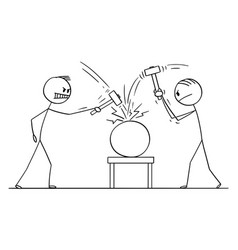 cartoon two men workers or businessmen beating vector image