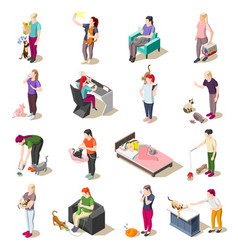 cat ordinary life isometric icons vector image