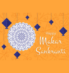 celebrate makar sankranti greeting card on white vector image