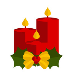 christmas candles with holly leaves icon vector image
