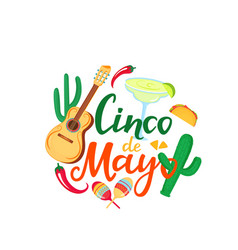 Cinco de mayo hand drawn lettering 5th may vector