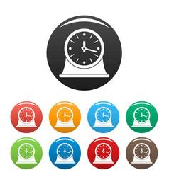 clock vintage icons set color vector image