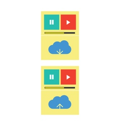 Cloud music download upload vector