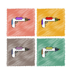 collection of flat shading style icons toy gun vector image