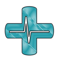 Cross with ekg isolated icon vector