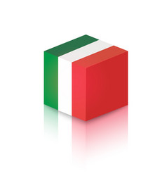 cube in colors italian national flag vector image