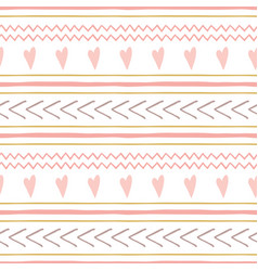 cute abstract hand drawn pink seamless patterns vector image
