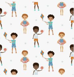 cute boy cartoon style seamless pattern vector image