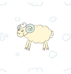 cute lamb boy in the clouds vector image