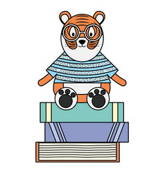 Cute tiger with books character vector