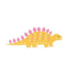 cute yellow stegosaurus in childish style funny vector image