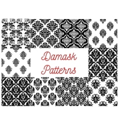 Damask ornamental decoration patterns vector