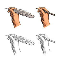 Female hand holding a goose feather and pencil vector