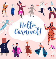 festive people in mask and carnival apparel vector image