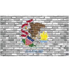 flag of illinois on a brick wall vector image