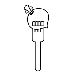 Fork with onion fresh vegetable isolated icon vector