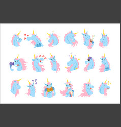 Funny unicorn characters with different emotions vector