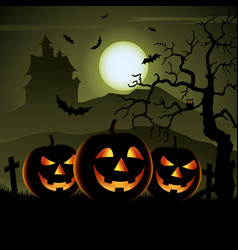 Ghostly halloween poster with pumpkins and vector