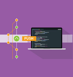git push command programming technology code vector image