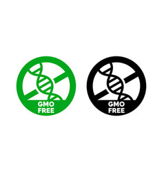 gmo free label dna icon product package vector image