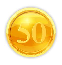 Gold coin value 50 cartoon vector