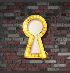 Gold keyhole on old brick wall background vector