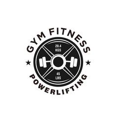 Gym logo with barbel icon simple minimalist icon vector