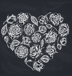 heart floral design with chalk roses vector image