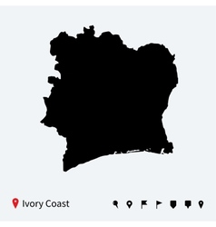 High detailed map of ivory coast with navigation vector