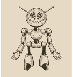 Image of a cartoon fun metal robot with antennas vector