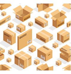 isometric cardboard seamless pattern vector image