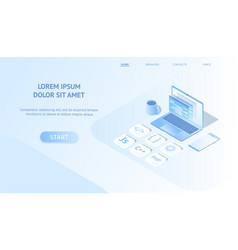 isometric web banner development vector image