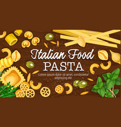 Italian pasta on board poster vector