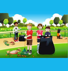kids volunteering cleaning up the park vector image