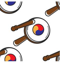 Korean tambourine seamless pattern national vector