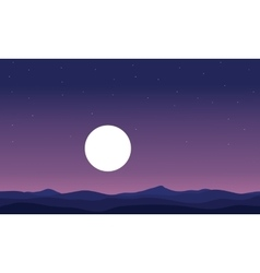 Landscape hill and full moon silhouette vector
