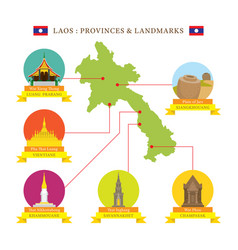 laos provinces and landmarks icons with map vector image