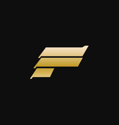 letter f luxury metal logo design concept template vector image