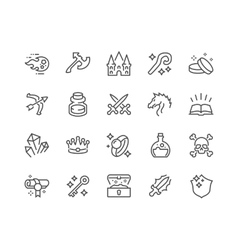Line Fantasy Icons vector image