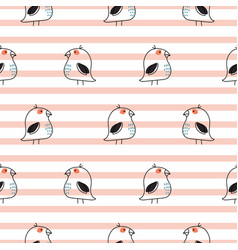 little birds stripe seamless pattern vector image