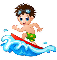 Little boy surfing on a big wave vector