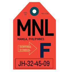 Manila airport luggage tag vector
