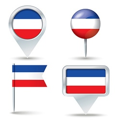Map pins with flag of Serbia and Montenegro vector