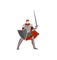 medieval knight ready for battle without helmet vector image