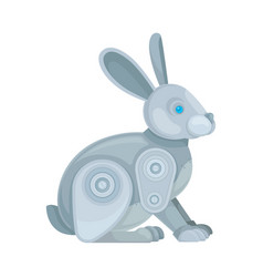 Metallic gray rabbit robot side view vector