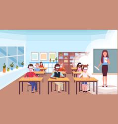Mix race pupils sitting desks wearing digital vector