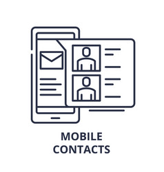 mobile contacts line icon concept mobile contacts vector image